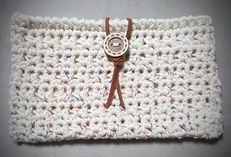 コットン糸の通帳カバー