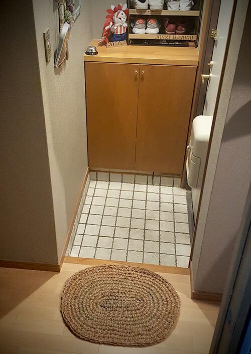 手編みの玄関マット