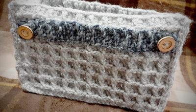 ワッフル編みのバッグインバッグ