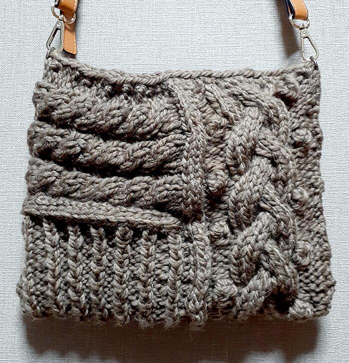模様編みのショルダーバッグ