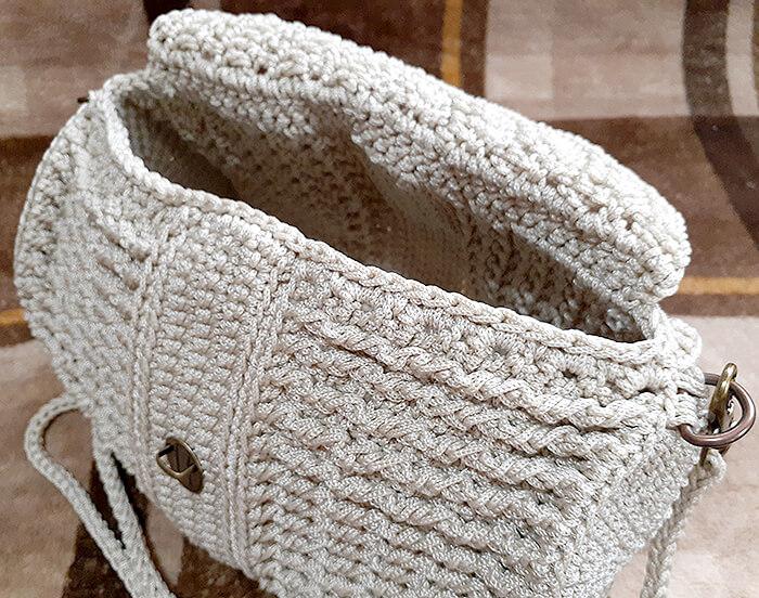 マクラメヤーンの丸バッグ
